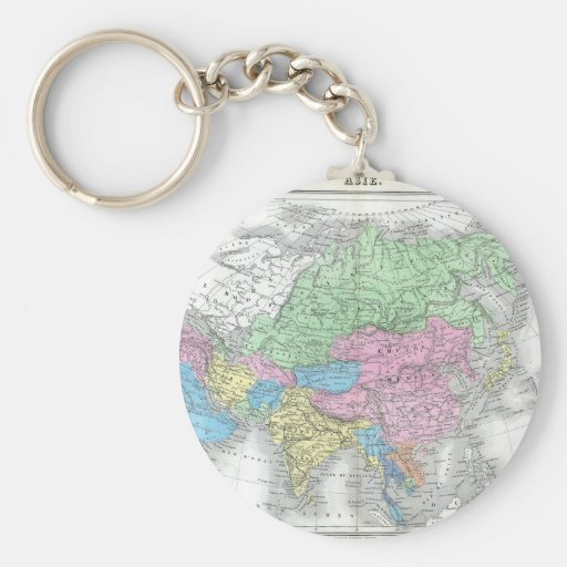 Antique Map of Asia circa 1800s Keychain