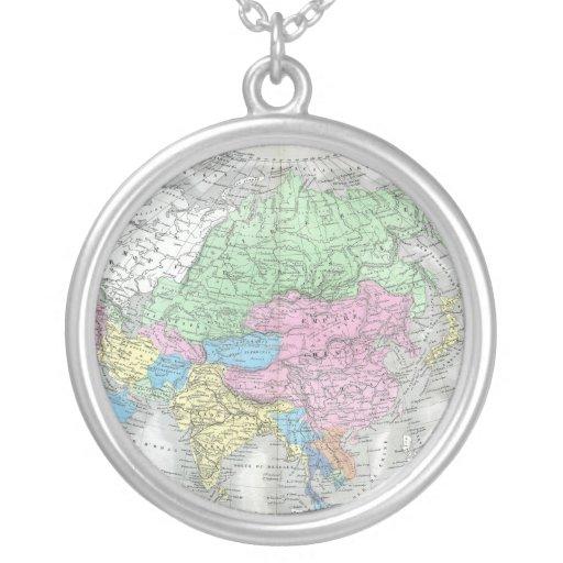 Antique Map of Asia circa 1800s Custom Necklace