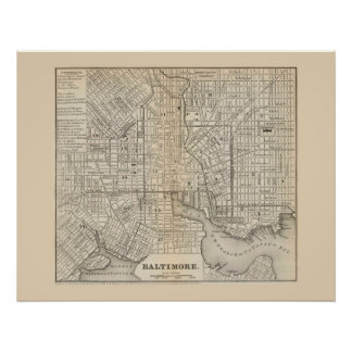 Antique map of Baltimore Maryland 1866 Poster