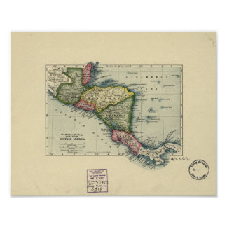 Antique Map of Central America - 1902 Poster
