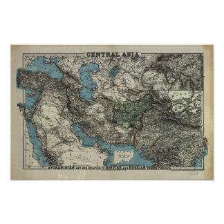 Antique Map of Central Asia 1885 Poster