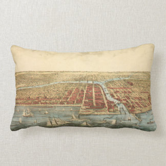 Antique Map of Chicago, LaSalle Street and River Lumbar Pillow