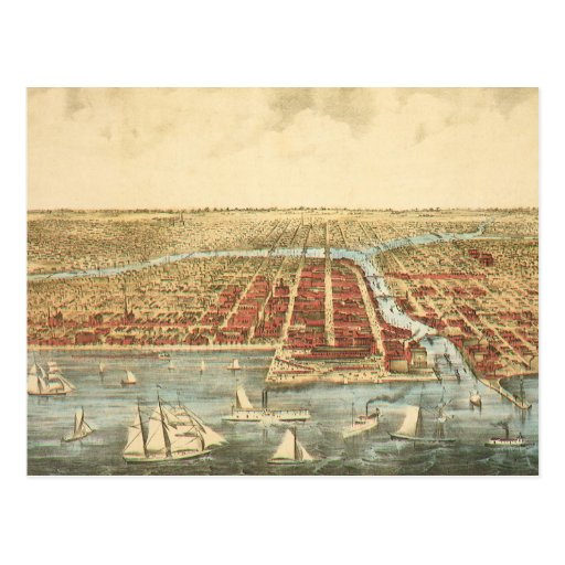 Antique Map of Chicago, LaSalle Street and River Postcards