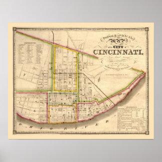 Antique map of Cincinnati Ohio Poster