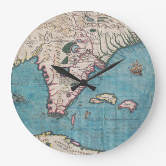 Antique Map of Florida and Cuba Large Clock