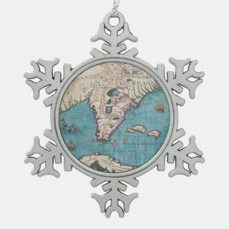 Antique Map of Florida and Cuba Snowflake Pewter Christmas Ornament