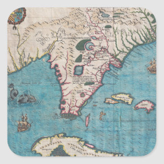 Antique Map of Florida and Cuba Square Sticker