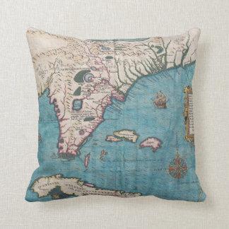 Antique Map of Florida and Cuba Throw Pillow