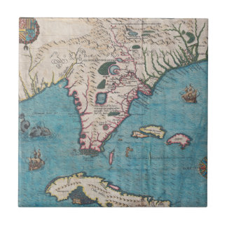 Antique Map of Florida and Cuba Tile