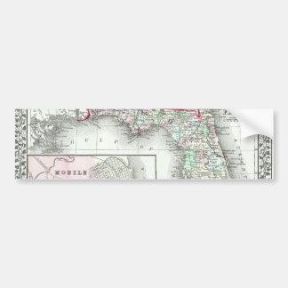 Antique Map of Florida & Mobile, Alabama Bumper Sticker