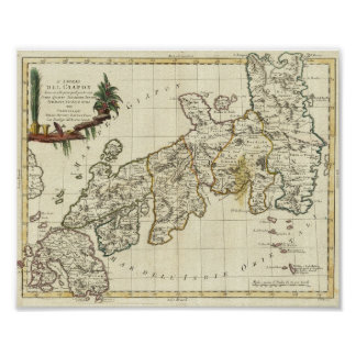 Antique Map of Japan 1785 Poster