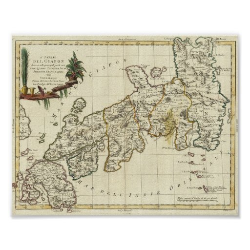 Antique Map of Japan 1785 Print