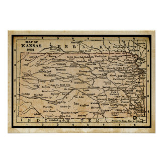Antique Map of Kansas Poster