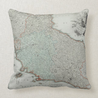 Antique Map of Lazio, Italy Throw Pillow