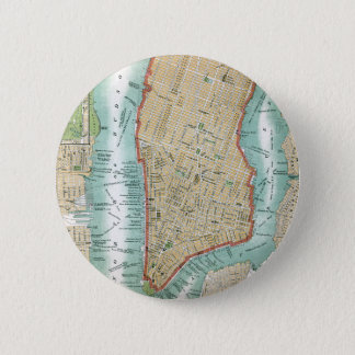 Antique Map of Lower Manhattan and Central Park 2 Inch Round Button