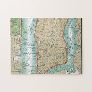 Antique Map of Lower Manhattan and Central Park Jigsaw Puzzle