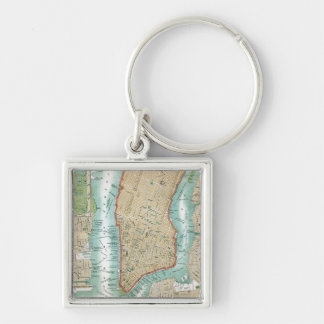 Antique Map of Lower Manhattan and Central Park Keychain
