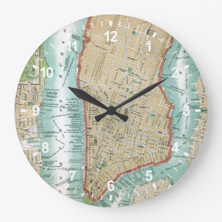 Antique Map of Lower Manhattan and Central Park Large Clock