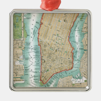 Antique Map of Lower Manhattan and Central Park Metal Ornament