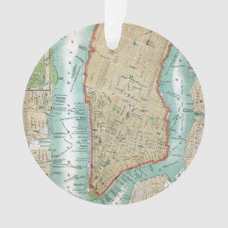 Antique Map of Lower Manhattan and Central Park Ornament