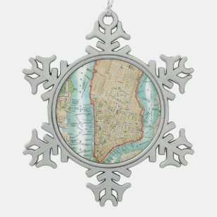 Antique Map of Lower Manhattan and Central Park Snowflake Pewter Christmas Ornament