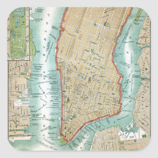 Antique Map of Lower Manhattan and Central Park Square Sticker