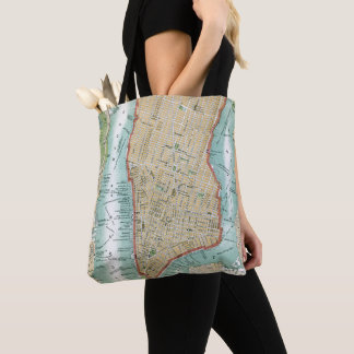 Antique Map of Lower Manhattan and Central Park Tote Bag