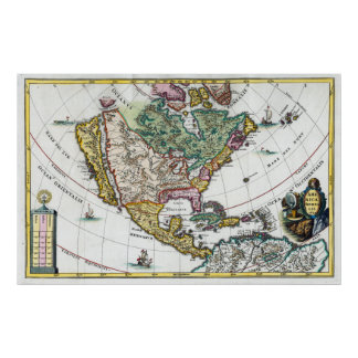 Antique Map of North America with Colonies Poster