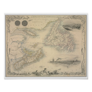 Antique map of Nova Scotia and Newfoundland Poster