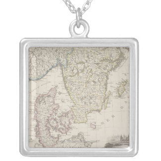 Antique Map of Scandinavia Silver Plated Necklace