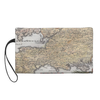 Antique Map of Southern England, Devon, Cornwall Wristlet Purse