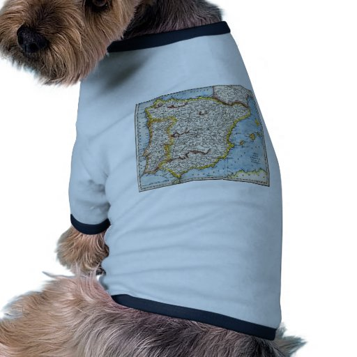 Antique Map of Spain & Portugal circa 1700's Dog T Shirt