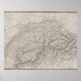 Antique Map of Switzerland Poster