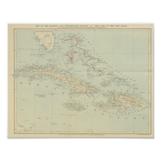Antique Map of the Bahama Islands Poster