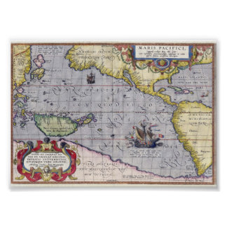 Antique map of the Pacific Ocean year 1589 Poster