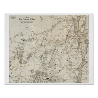 Antique map of the Saranac Lakes New York Poster