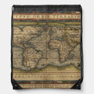 Antique Map of the World Drawstring Bag