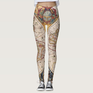 Antique Map of the World Leggings