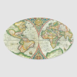 Antique Map of The World Oval Sticker