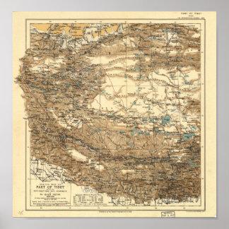 Antique Map of Tibet 1906-1908 Poster