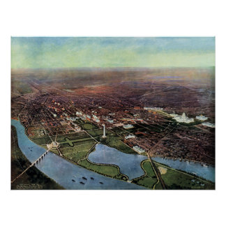 Antique Map of Washington DC and the Potomac River Poster