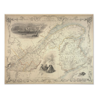 Antique Map off East Canada and New Brunswick 1857 Poster