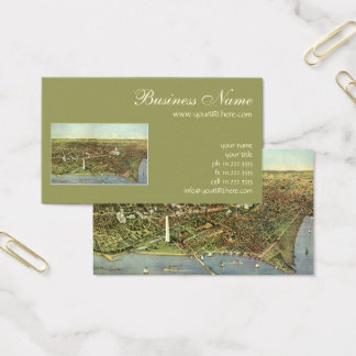 Antique Map, Panoramic View of Washington DC Business Card