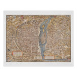 Antique MAP PARIS vintage old Poster