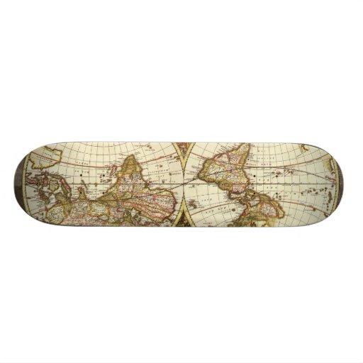 Antique Map Skate Board Decks