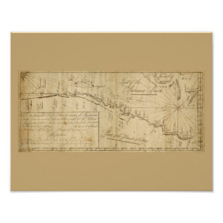 Antique Map Straits of Bahama Nautical Chart Poster