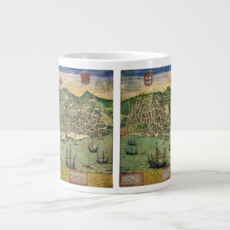Antique Map, Town Plan of Lisbon, Portugal, 1598 Large Coffee Mug