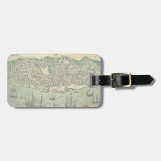 Antique Map, Town Plan of Lisbon, Portugal, 1598 Luggage Tag