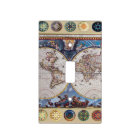 Antique map with compass rose lightswitch covers