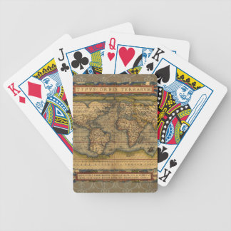 Antique Map World Travel Continents Poker Deck